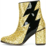 Gold Glitter Boots Patent Leather Lightning Chunky Heel Ankle Boots