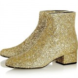 Gold Glitter Boots Round Toe Short Block Heel Ankle Boots