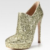 Fashion Golden Stiletto Boots Beautiful Glitter Platform Ankle Boots