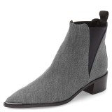 Grey Denim Chelsea Boots Pointy Toe Slip-on Chunky Heel Ankle Boots