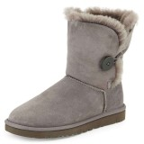 Grey Suede Flat Winter Boots