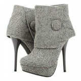 Grey Fashion Boots Stiletto Heel Ankle Booties with Platform
