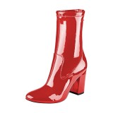Red Chunky Heel Boots 4 Inches Mirror Leather Round Toe Ankle Boots