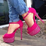 Hot Pink T Strap Sandals Sequined Peep Toe Platform Heels
