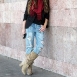 Khaki Slouch Boots Vintage Chunky Heel Mid Calf Boots for Women
