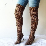 Leopard Print  Long Boots Pointy Toe Stiletto Heel Thigh-high Boots