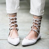 Light Grey Lace up Pointy Toe Flats Ballet Strappy Comfortable Shoes