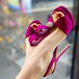 Magenta Wedding Sandals Rhinestone Slingback Stiletto Heels for Bride