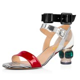 Multicolor Patent Leather Buckle Rhinestone Chunky Ankle Strap Sandals