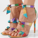 Multicolor Tri Strap Bow Stiletto Heels Sandals