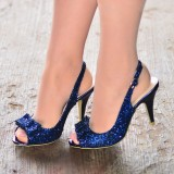 Navy Glitter Shoes Bow Slingback Cone Heel Sandals