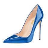 Blue Pointy Toe Stiletto Heels Pumps Office Shoes