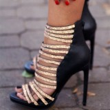 Black and Gold Evening Shoes Open Toe Sparkly Stiletto Heel Sandals