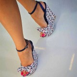 Floral Wedge Sandals Ankle Strap Peep Toe Platform Heels