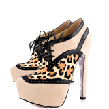 Nude and Leopard Wingtip Boots Hair Calf Platform Ankle Boots