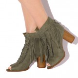 Olive Green Fringe Boots Block Heel Peep Toe Suede Ankle Boots