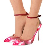 Pink Floral Heels Ankle Strap Pointy Toe Pumps Stiletto Heels