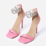 Pink Stiletto Heels Silver Shining Chains Open Toe Ankle Strap Sandals