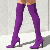 Women's Purple Long Boots Stiletto Heel Thigh-high Boots