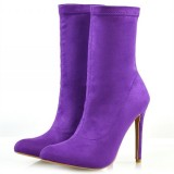 Purple Suede Sock Boots Closed Toe Stiletto Heel Fashion Ankle Booties