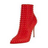 Women's Red Fashion Boots Stiletto Heels Pointy Toe Ankle Booties with Rivets