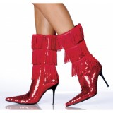 Red Sequin Boots Pointy Toe Fringe Stiletto Mid Calf Stripper Boots