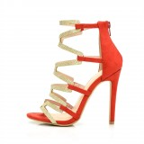 Red Gladiator Sandals Gold Glitter Open Toe Stiletto Heel Sandals