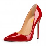 On Sale Red Pointy Toe Office Heels Patent Leather Stiletto Heel Pumps