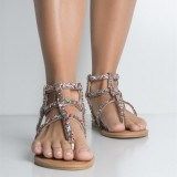 Rose Gold Glitter Gladiator Sandals Comfortable Flats Beach Sandals