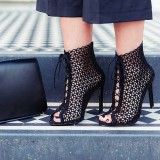 Black Laser cut Lace up Heels Peep Toe Hollow out Summer Boots