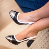 Silver and Black Slingback Pumps Chunky Heels Office Shoes