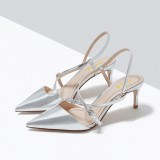 Silver Stiletto Heels Strappy Mirror Leather Closed Toe Sandals