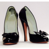 Women's Leila Black 4 Inch Heels Vintage Pumps Shoes