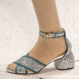 Silver and Blue Glitter Shoes Ankle Strap Block Heel Sandals