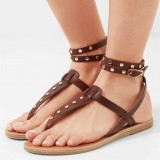 Tan Vintage Gladiator Sandals Flip-Flops Slingback Sandals with Studs