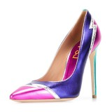 Multi-color Stiletto Heels Pointy Toe Mirror Leather Pumps for Ladies