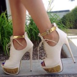 White and Gold Summer Boots Ankle Strap Peep Toe Lace up Sexy Shoes