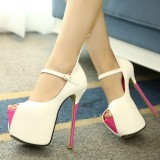 White and Fuchsia Platform Heels Peep Toe Trendy Mary Jane Pumps