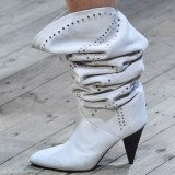 Off-white Suede Studs Cone Heel Slouch Boots