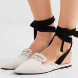 White Pointy Toe Strappy Flats Rhinestone Mule Loafers for Women