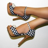 Women's Black and White Plaid Ankle Strap Sandals Vintage Heels