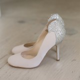 Women's Blush Rhinestone Stiletto Heels Pumps Bridal Heels