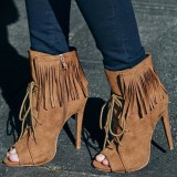 Khaki Fringe Boots Peep Toe Suede Lace up Stiletto Heel Ankle Booties