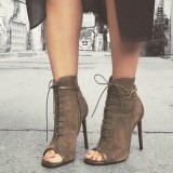 Women's Brown Peep Toe Stiletto Heels Vintage Lace Up Boots