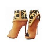 Women's Ginger Stileetto Heels Leopard Print Shoes Inverted Peep Toe Ankle Booties