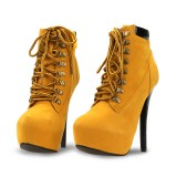 Women's Ginger Lace-up Heels Stiletto Heels Ankle Vintage Boots