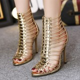 Gold Metallic Heels Open Toe Gladiator Heels Stiletto Heel Sandals