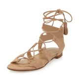 Women's Khaki Lace up Sandals Comfortable Flats Gladiator Sandals