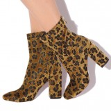 Women's Leopard Print Boots Pointy Toe Chunky Heels Comfortable Shoes