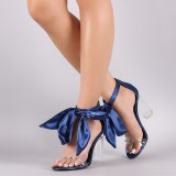 Navy Rhinestone Clear Heels Open Toe Chunky Heel Sandals with Bow